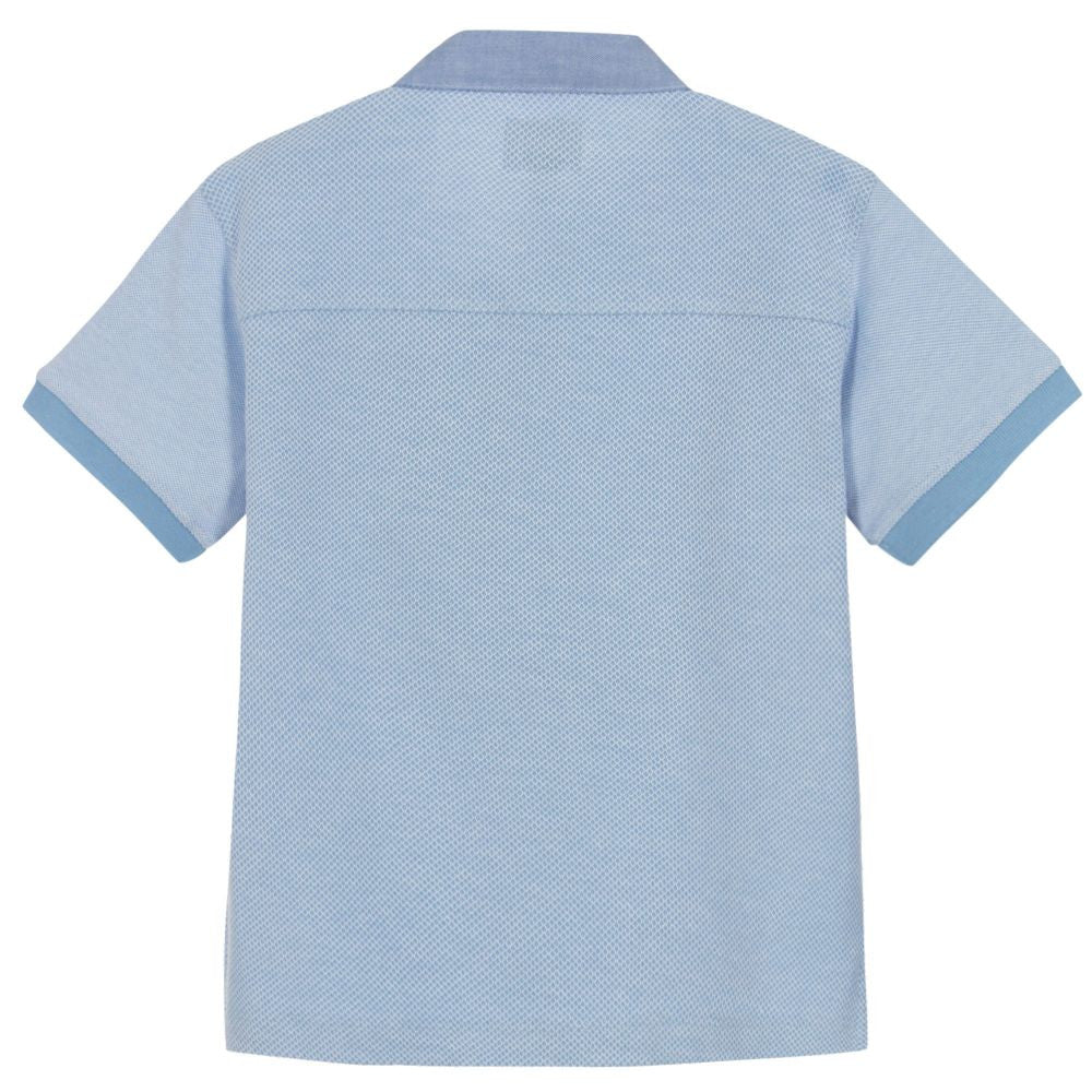 Armani Boys Light Blue Piqué Polo Shirt Boys Polo Shirts Armani Junior [Petit_New_York]
