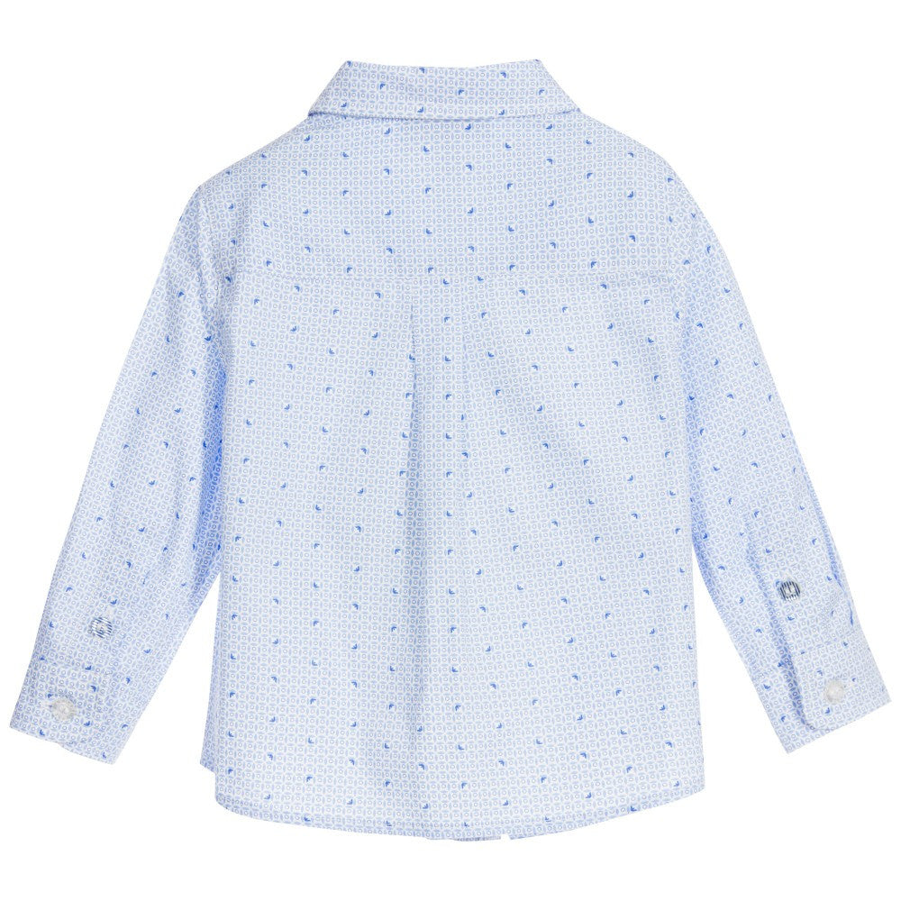 Armani Fantasia Azzurro Button-Down Baby Tops Armani Junior [Petit_New_York]