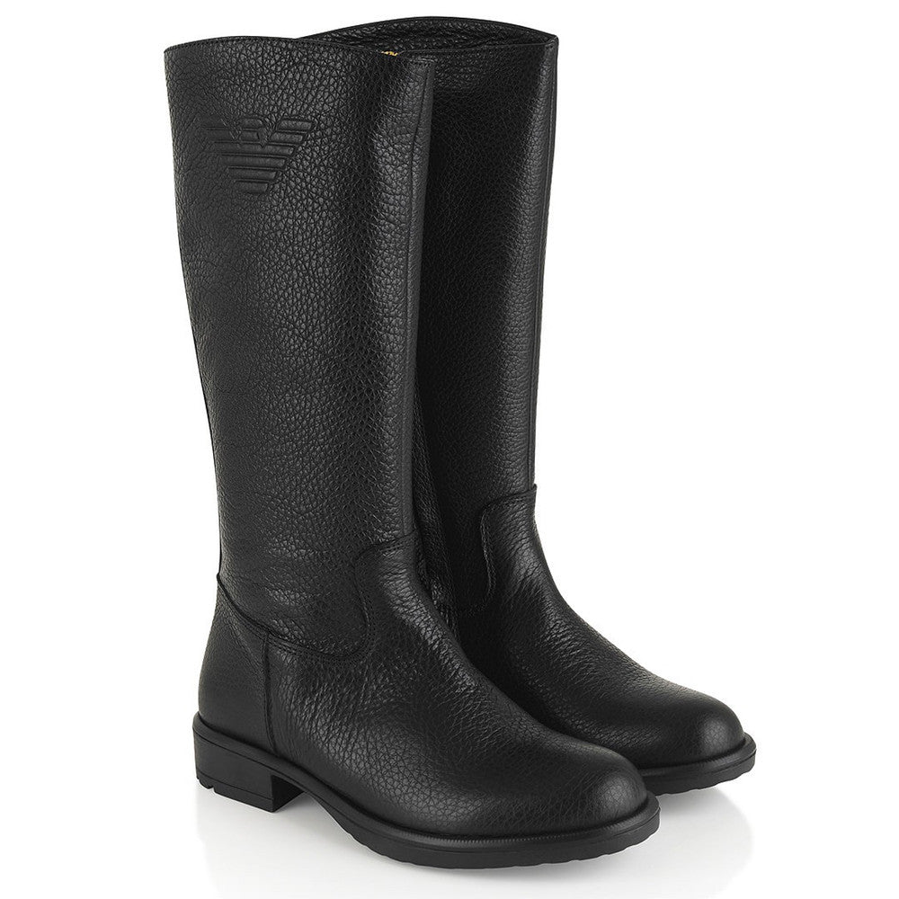 Armani Girls Black Leather Logo Boots Girls Shoes Armani Junior [Petit_New_York]