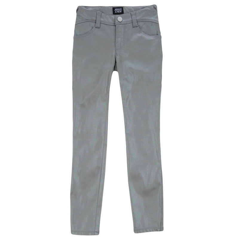 Armani Junior Girls Silver Skinny Luxury Pants Girls Pants Armani Junior [Petit_New_York]