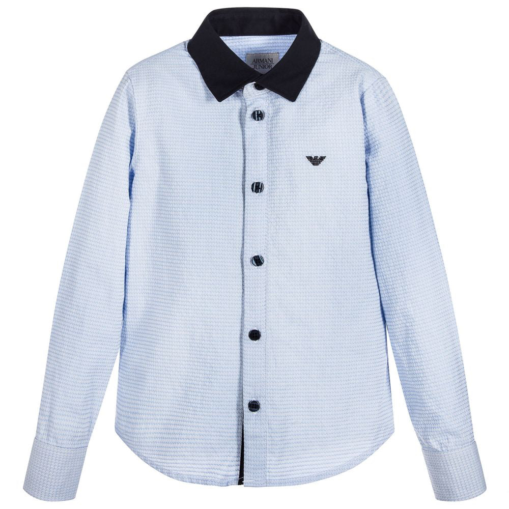 Armani Junior Boys Blue Contrast Collar Shirt Boys Shirts Armani Junior [Petit_New_York]