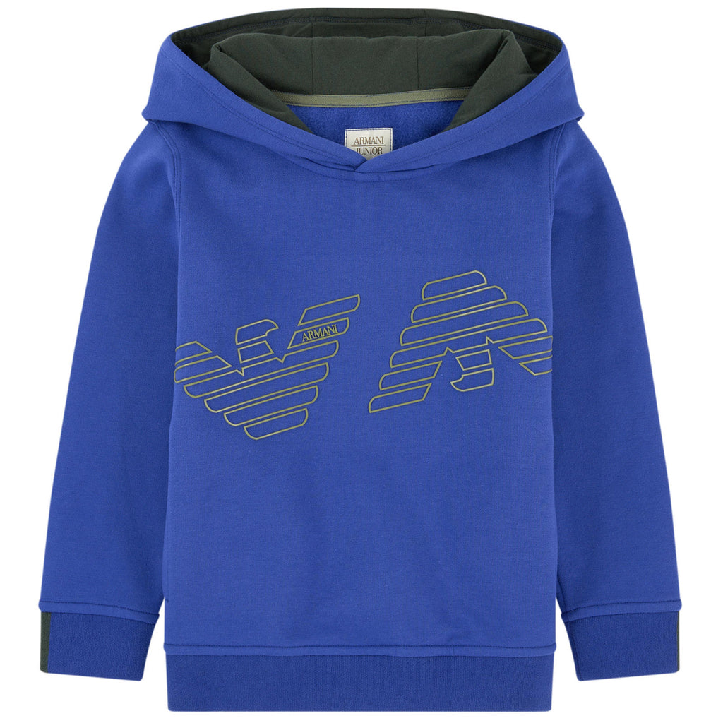 Armani Junior Boys Blue Logo Hoodie Boys Sweaters & Sweatshirts Armani Junior [Petit_New_York]
