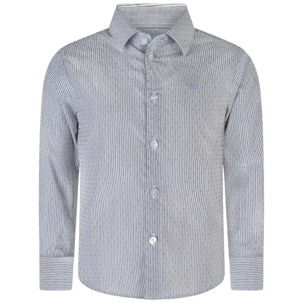 Armani Junior Boys Blue Striped Shirt Boys Shirts Armani Junior [Petit_New_York]