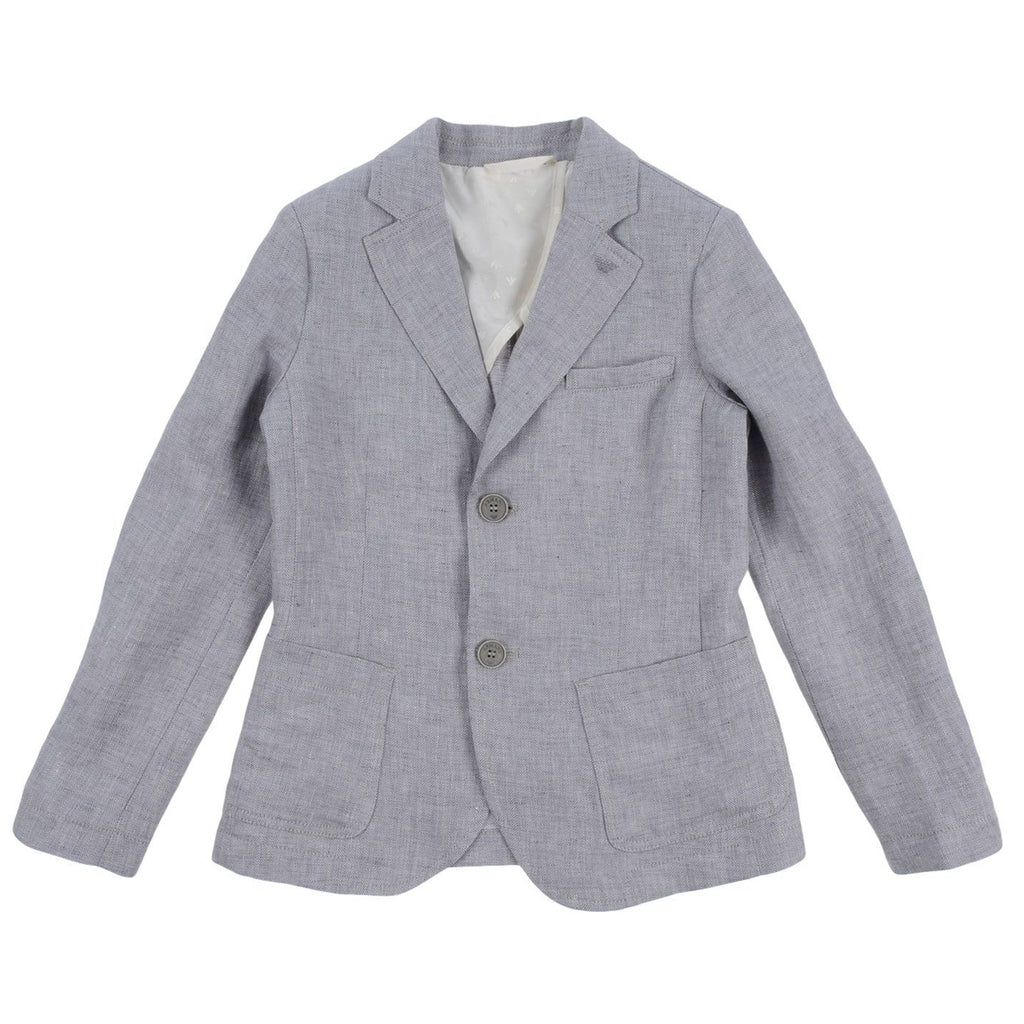 Boys Grey Cotton Weave Blazer