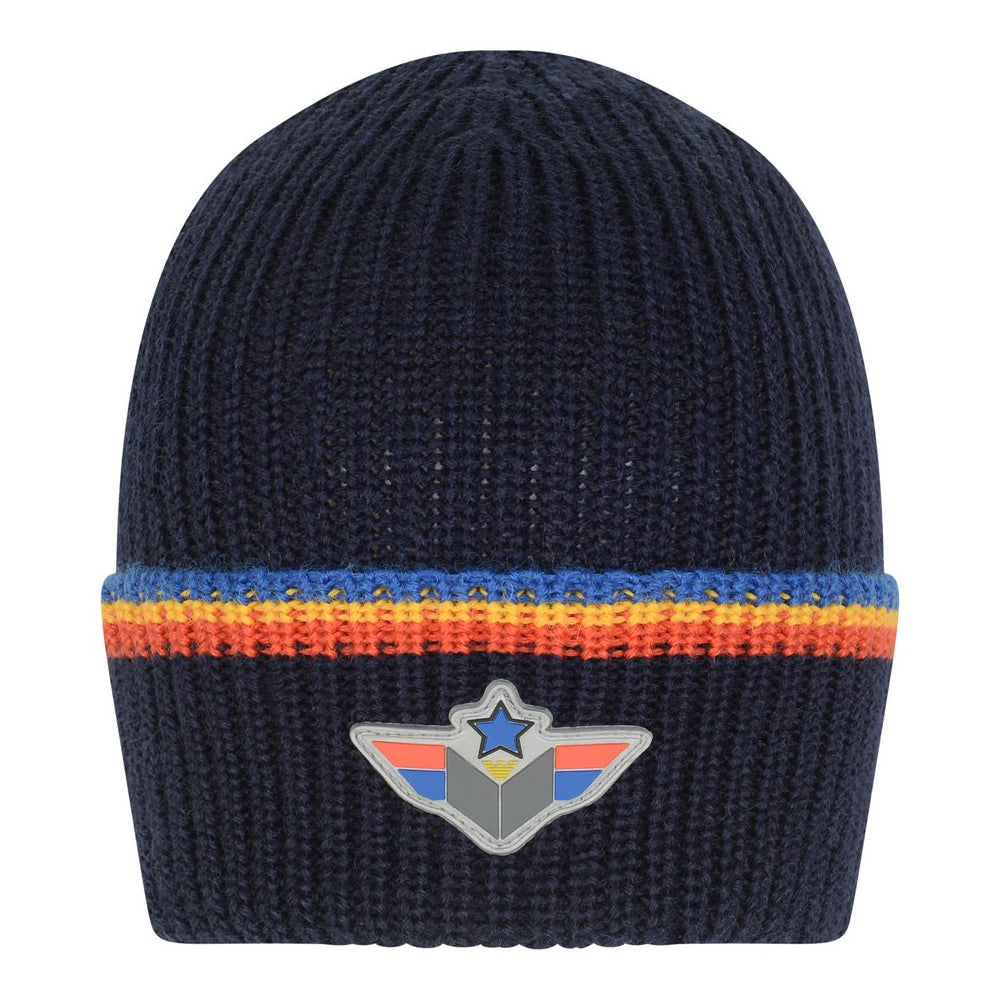 Armani Junior Boys Navy Blue Beanie with Logo Emblem Boys Hats, Scarves & Gloves Armani Junior [Petit_New_York]