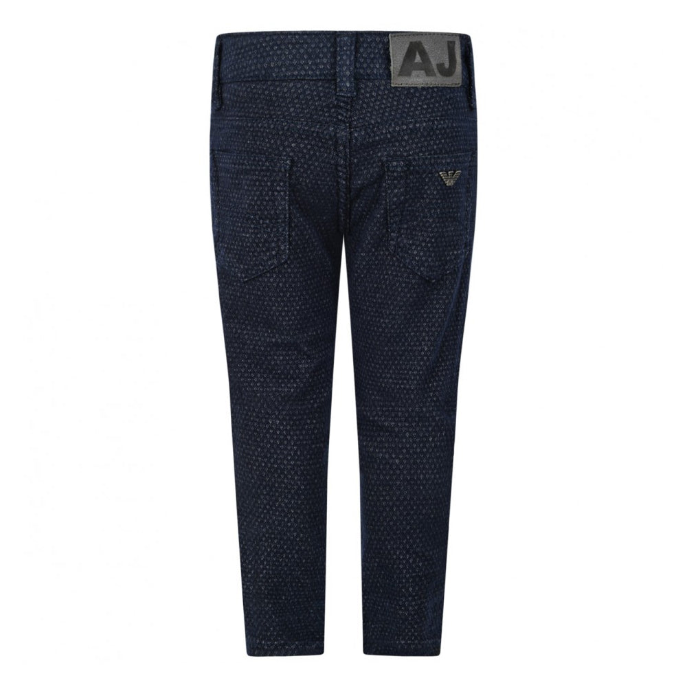 Armani Baby Boys Navy Blue Patterned Luxury Pants Baby Bottoms Armani Junior [Petit_New_York]
