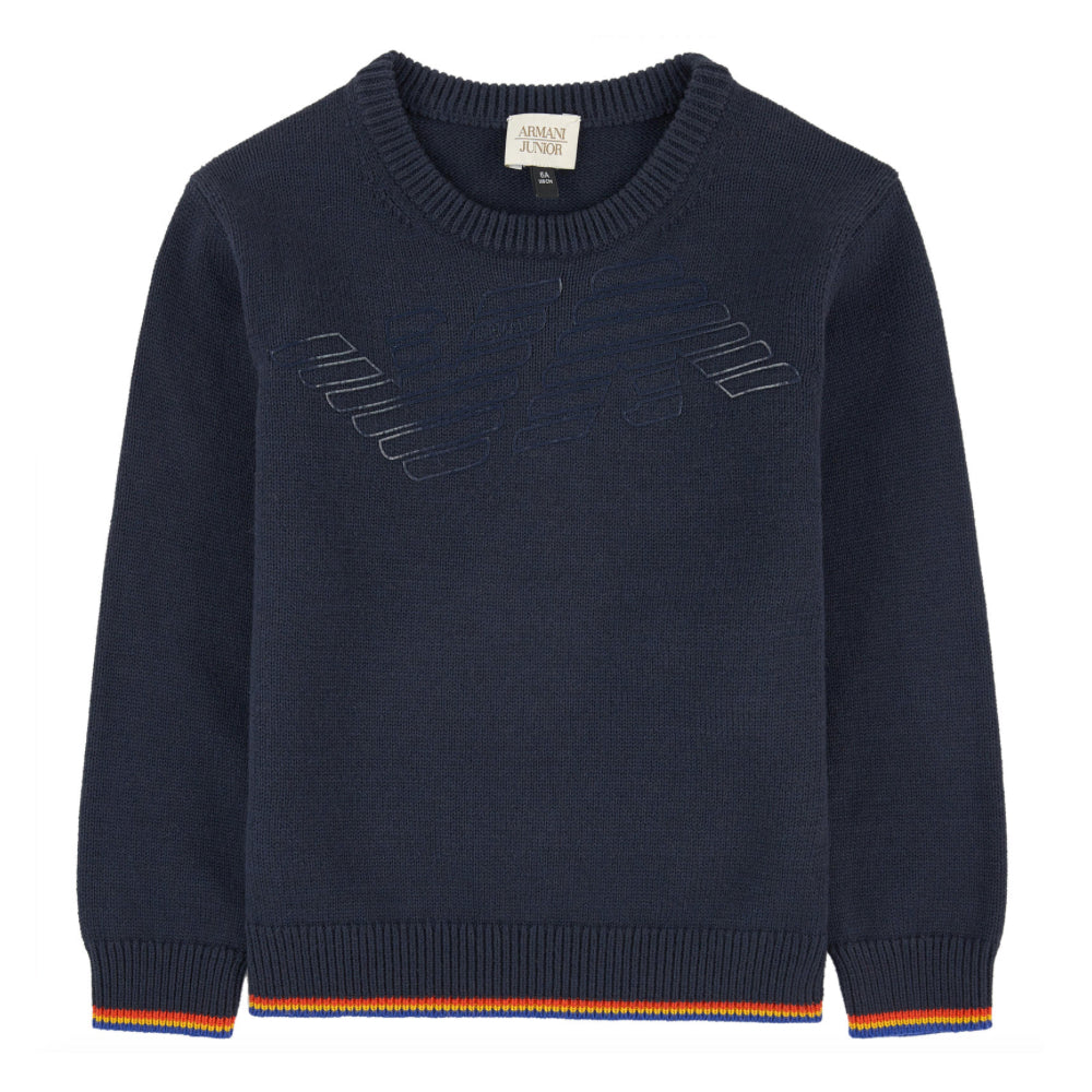Armani Junior Boys Navy Logo Wool Sweater Boys Sweaters & Sweatshirts Armani Junior [Petit_New_York]