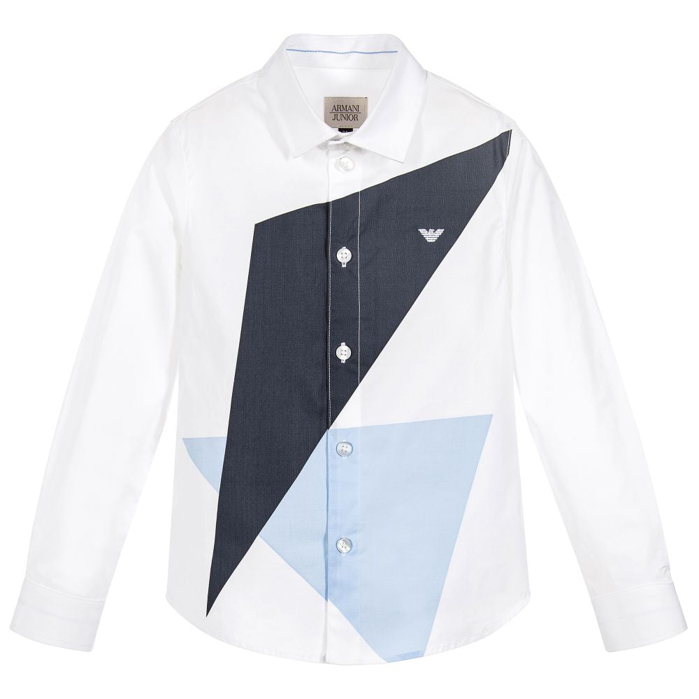 Armani Junior Boys White and Blue Geometric Shirt Boys Shirts Armani Junior [Petit_New_York]