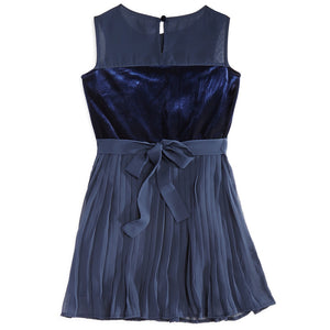 Armani Junior Girls Blue Velvet Party Dress Girls Dresses Armani Junior [Petit_New_York]