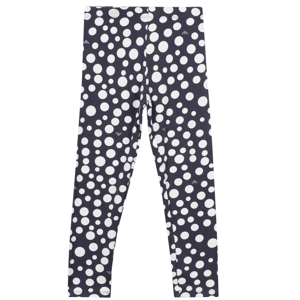 Armani Junior Girls Blue and White Polka Dot Leggings Girls Leggings Armani Junior [Petit_New_York]