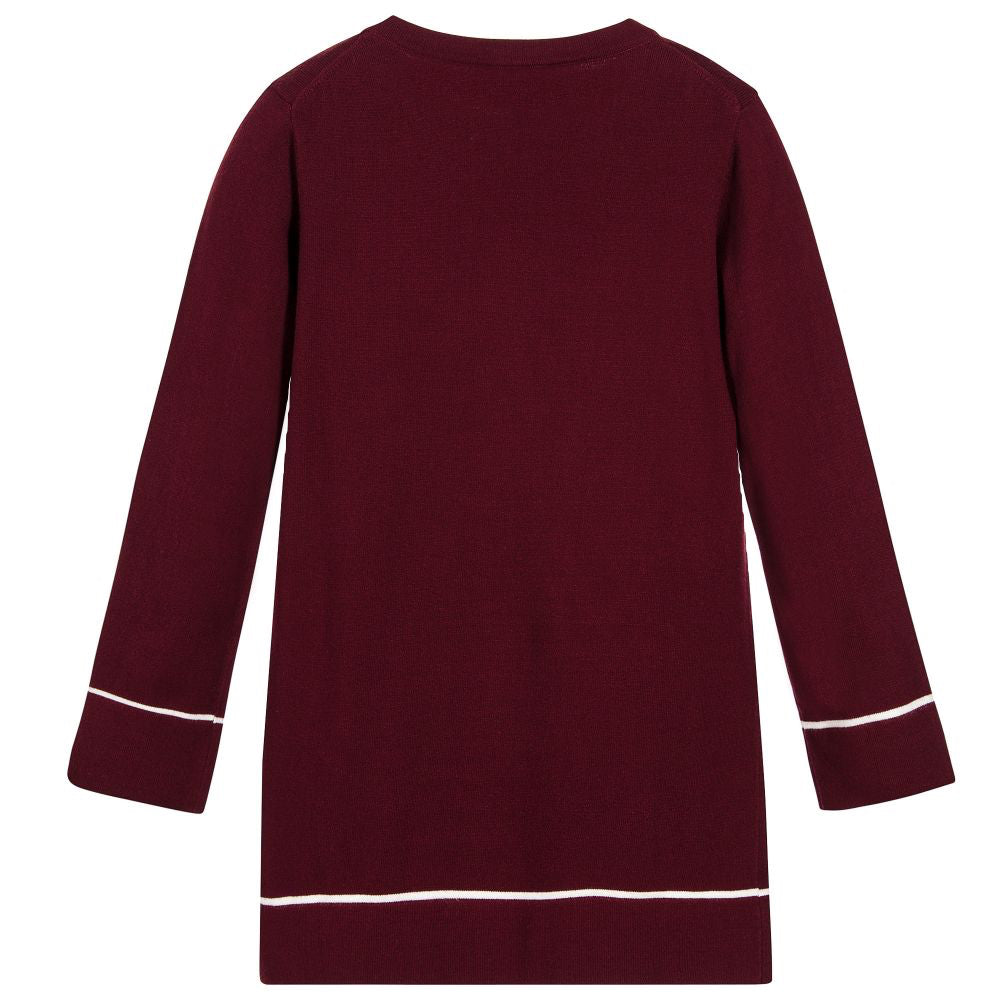 Armani Junior Girls Burgundy Knitted Eagle Logo Dress Girls Dresses Armani Junior [Petit_New_York]