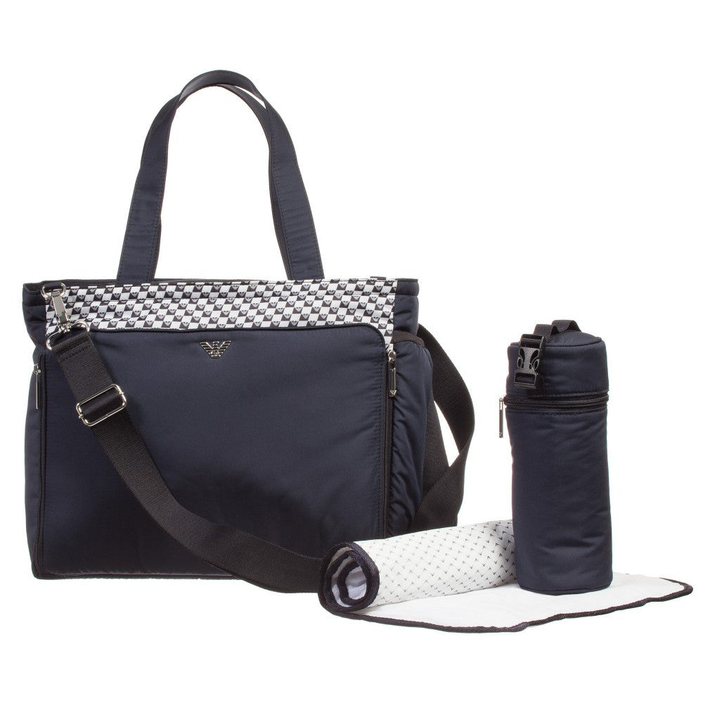 Armani Baby Navy Blue 3-Piece Changing Bag Baby Diaper Bags Armani Junior [Petit_New_York]