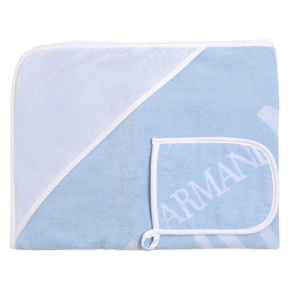 Armani Baby Blue Wash Mitt & Hooded Towel Set Accessories Armani Junior [Petit_New_York]