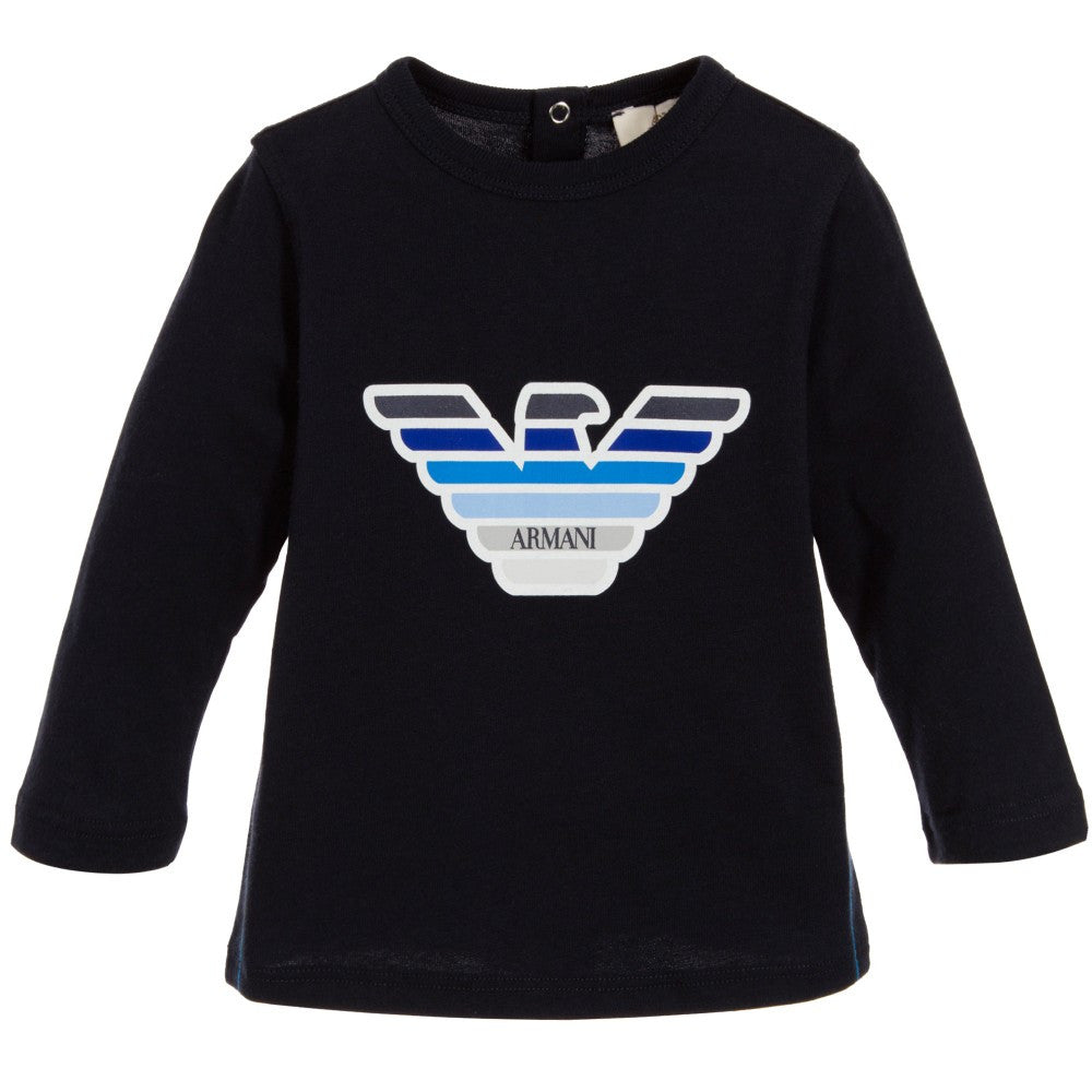 Armani Baby Boys Navy Blue Eagle Logo T-shirt Baby T-shirts Armani Junior [Petit_New_York]