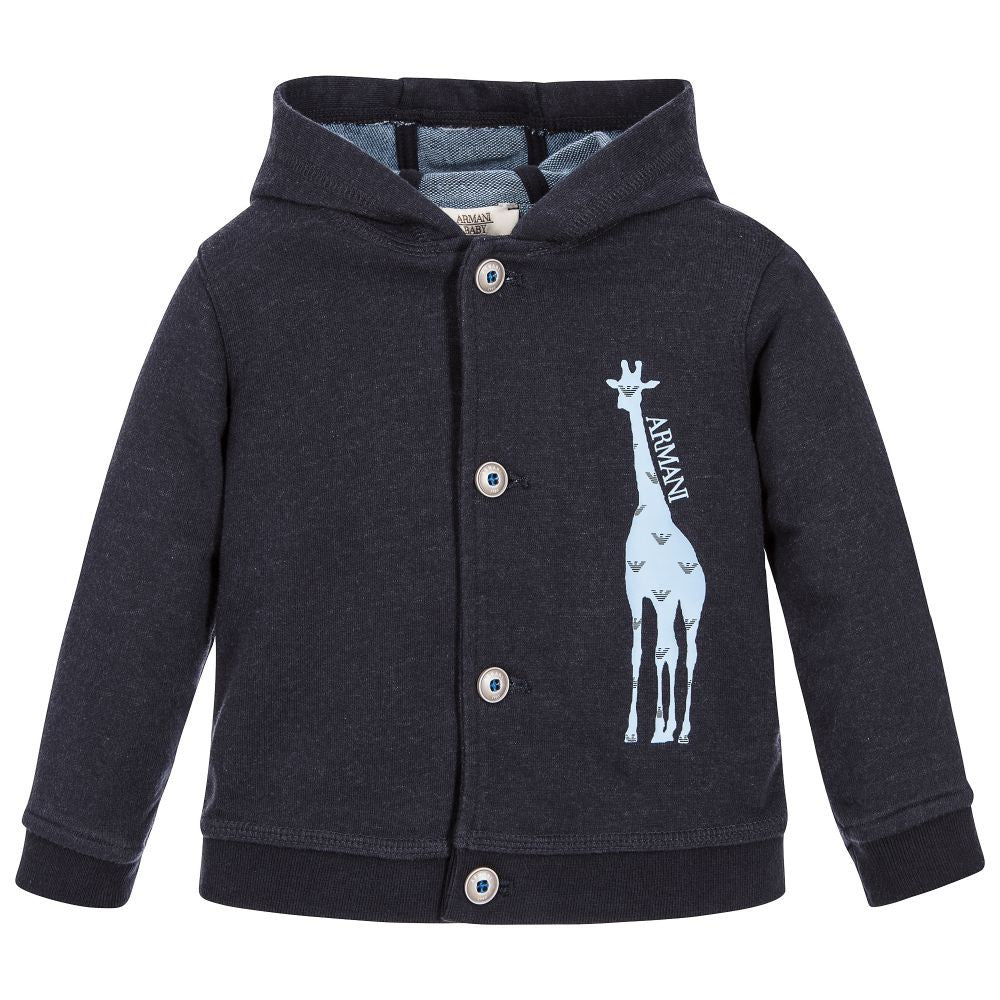 Armani Baby Boys Giraffe Hooded Cardigan Baby Tops Armani Junior [Petit_New_York]
