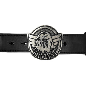 Armani Boys Eagle Canvas & Leather Belt Accessories Armani Junior [Petit_New_York]