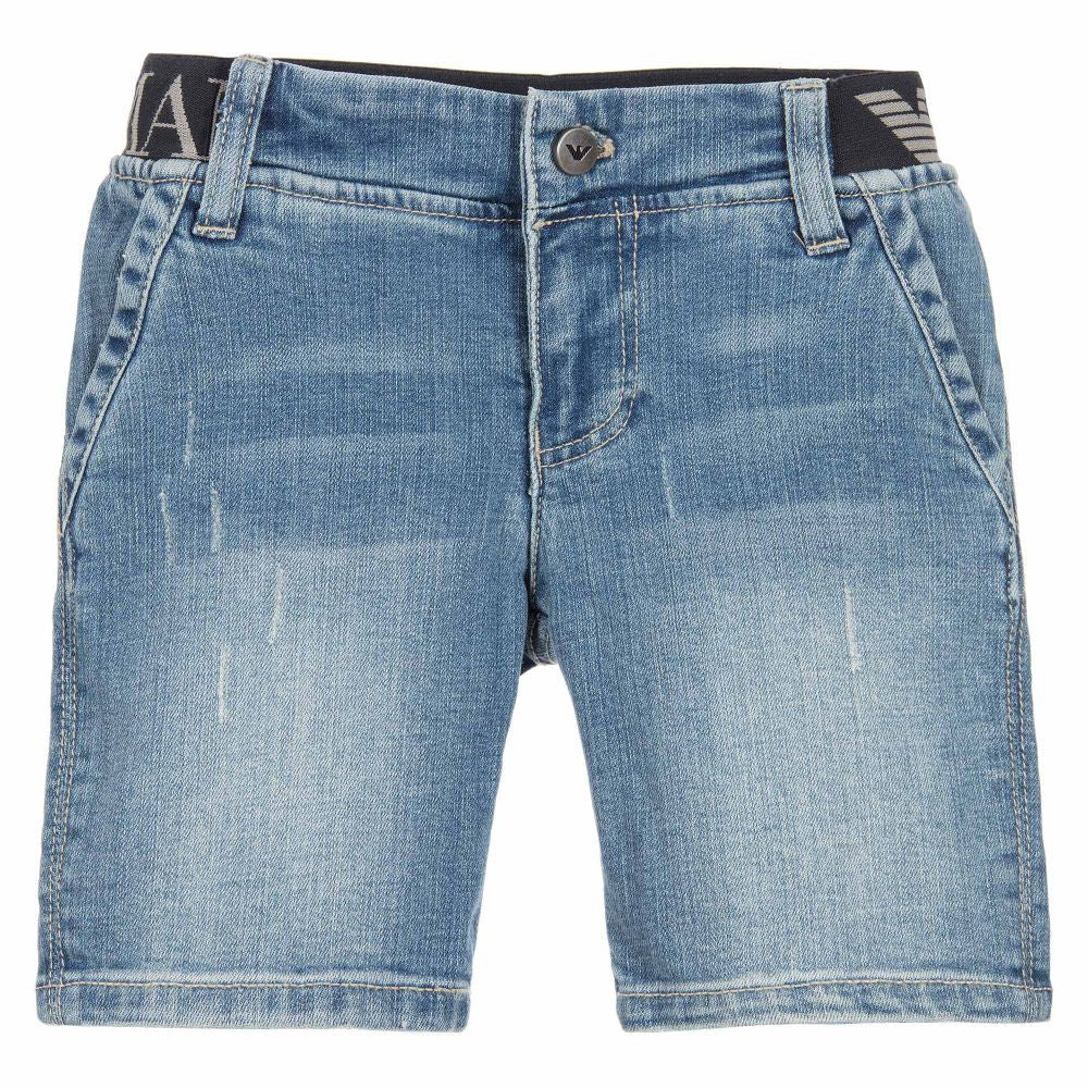 Armani Junior Boys Faded Blue Jean Shorts | New Season Boys Shorts Armani Junior [Petit_New_York]