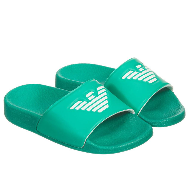Armani Boys Green Logo Flip-Flops Sandals Boys Shoes Armani Junior [Petit_New_York]
