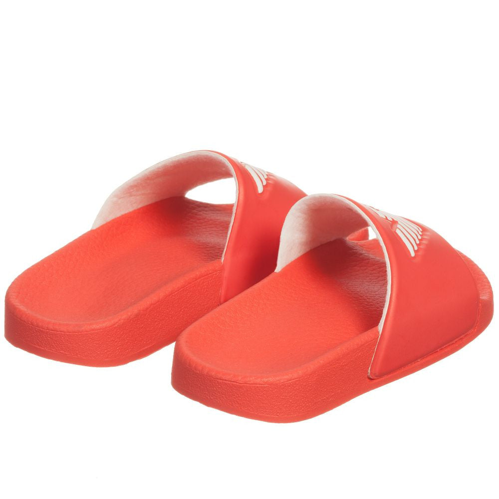 Armani Boys Red Logo Flip-Flops Sandals Boys Shoes Armani Junior [Petit_New_York]