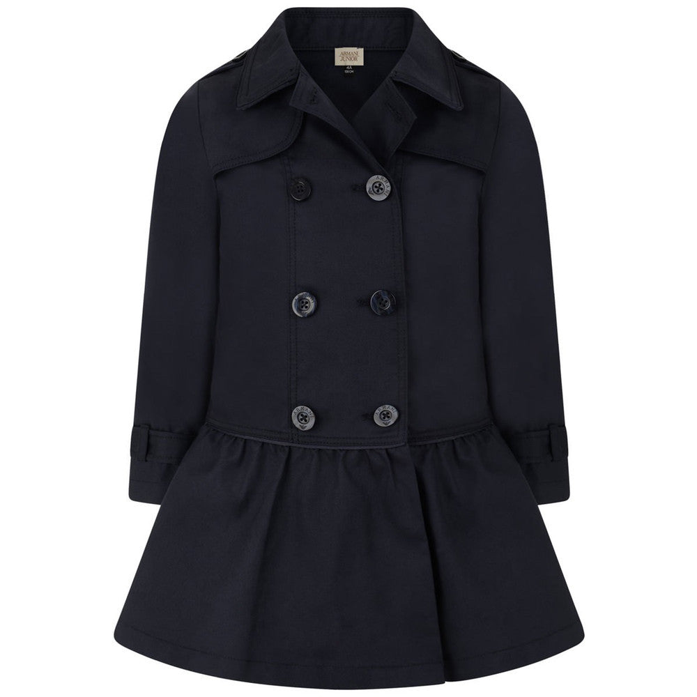 Armani Junior Girls Fancy Navy Trench Coat Girls Jackets & Coats Armani Junior [Petit_New_York]