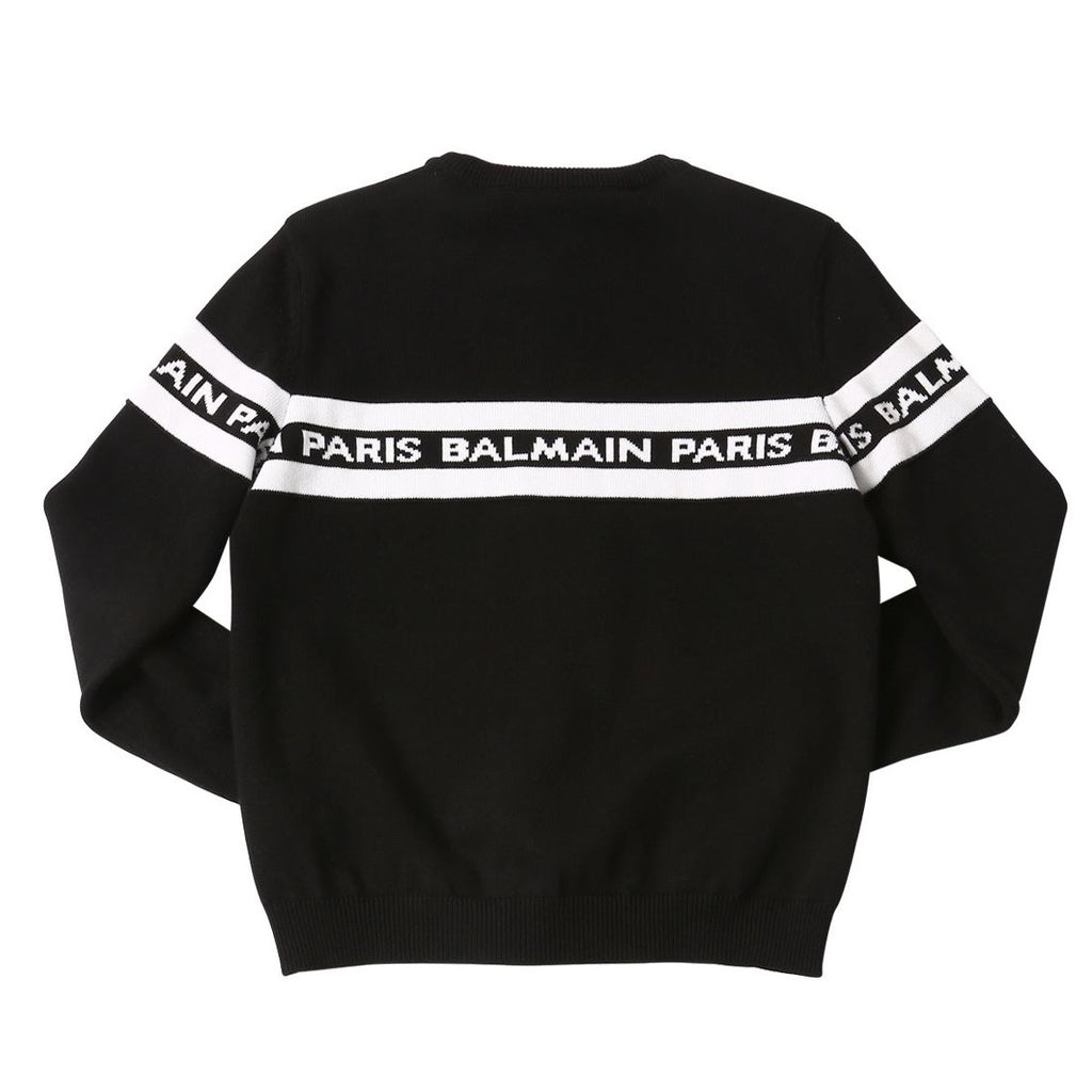 Unisex Black and White Logo Knitted Sweater (Mini-Me)