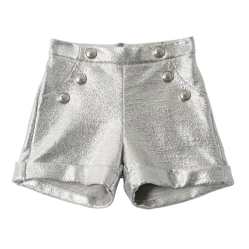 Girls Silver Laminated Shorts with Buttons (Mini-Me)