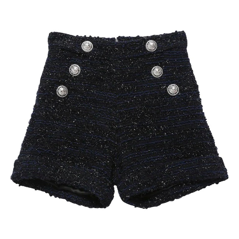 Girls Dark Tweed Wool Shorts (Mini-Me)