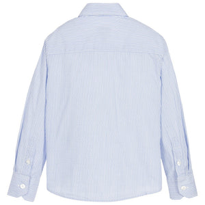 Armani Boys Blue & White Pinstripe Shirt Boys Shirts Armani Junior [Petit_New_York]