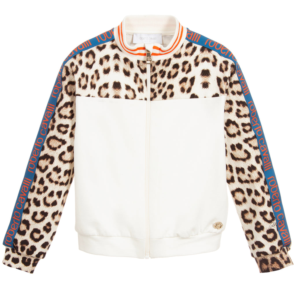 Girls Ivory Leopard Logo Zip-Up Top