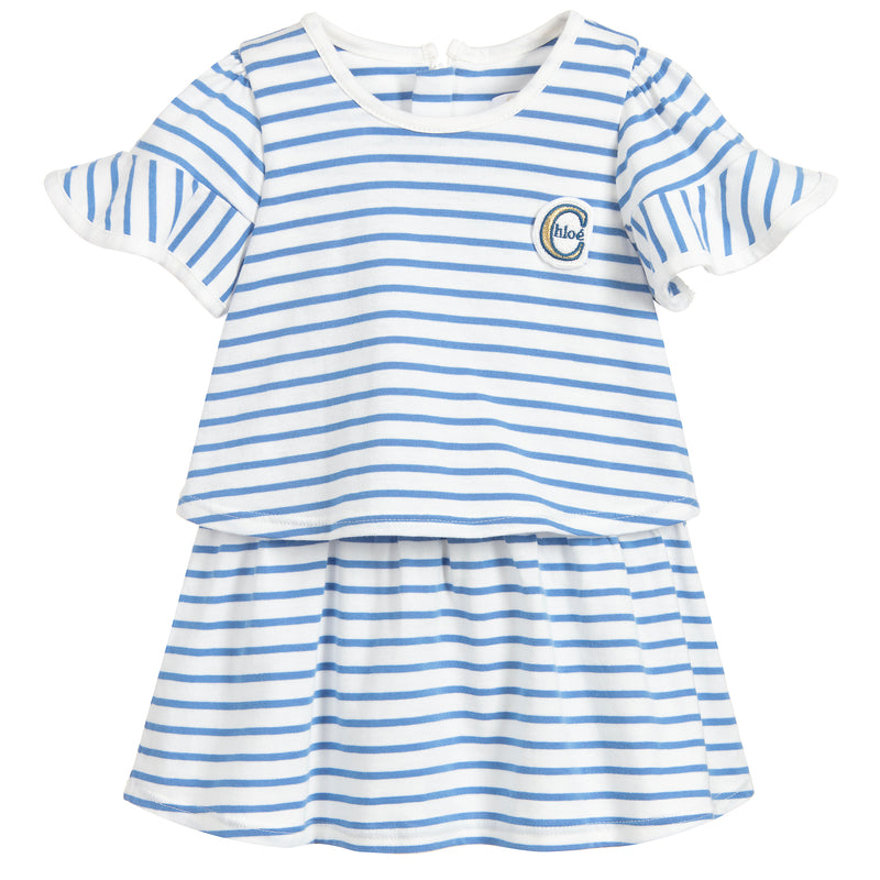 Baby Girls Light Blue Striped Dress