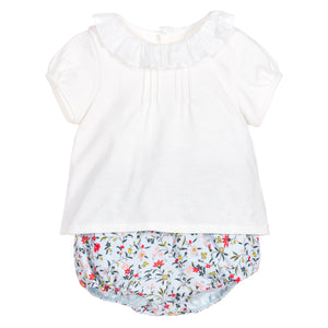 Baby Girls Two Piece White & Floral Set