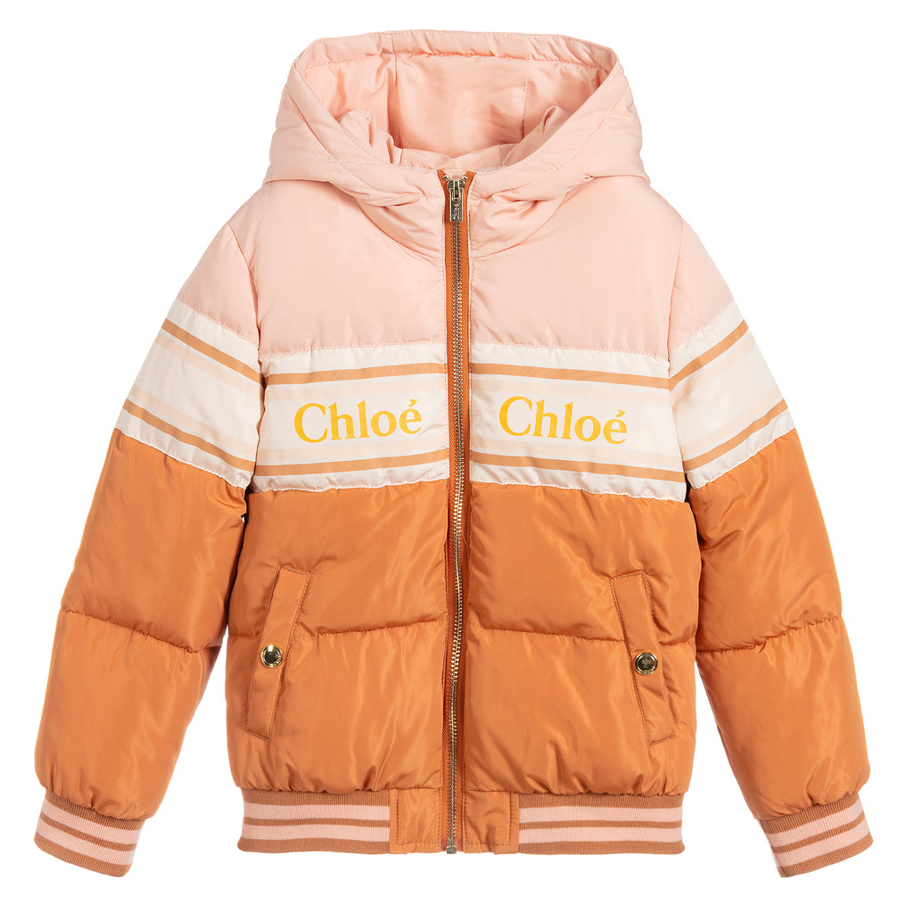 Girls Beige and Pink Logo Puffer Jacket
