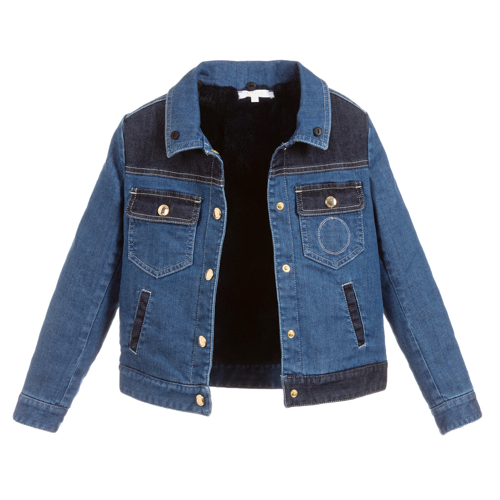 Girls Blue Denim Jacket with Faux Fur Collar (Mini-Me)