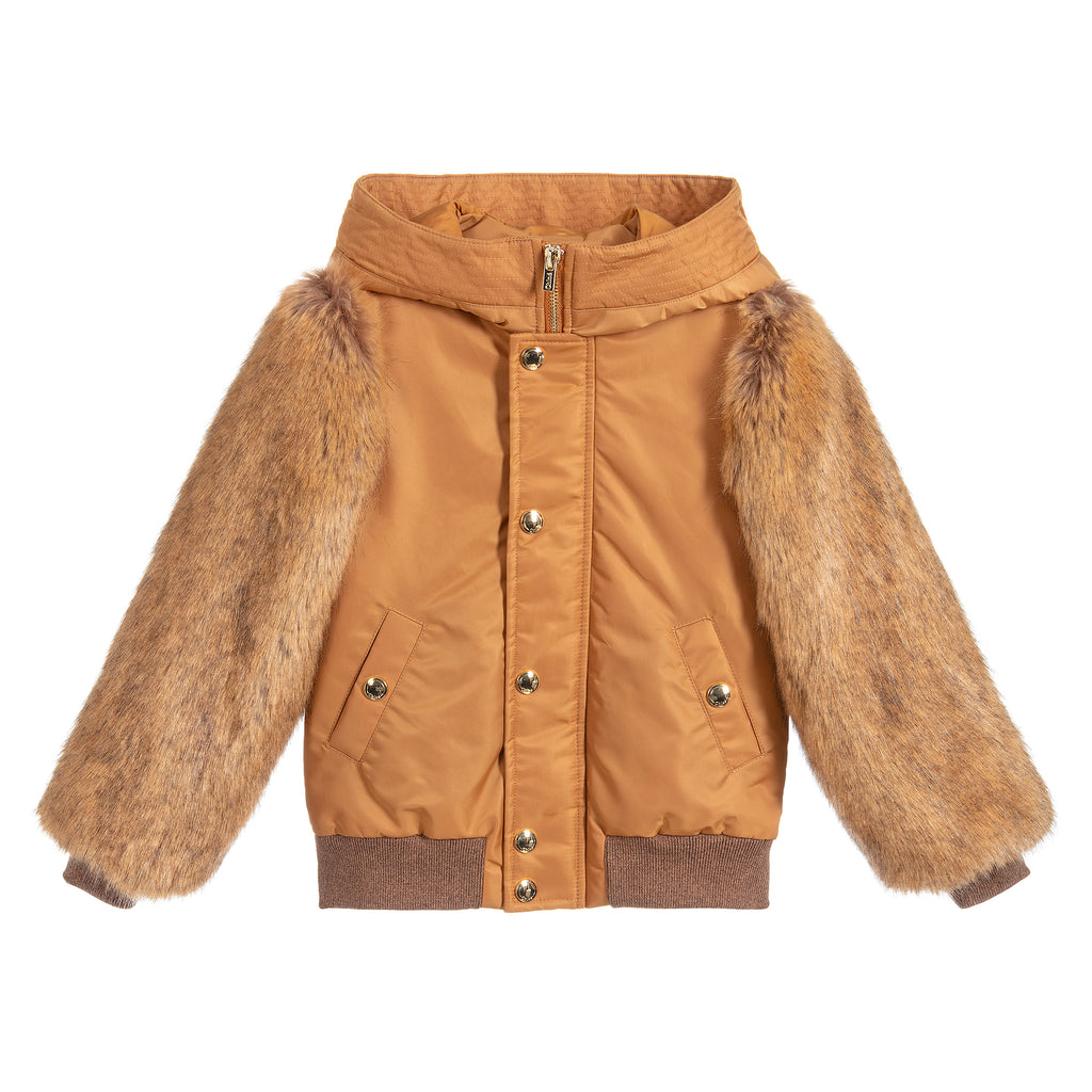 Girls Brown Beige Faux Fur Bomber Jacket (Mini-Me)