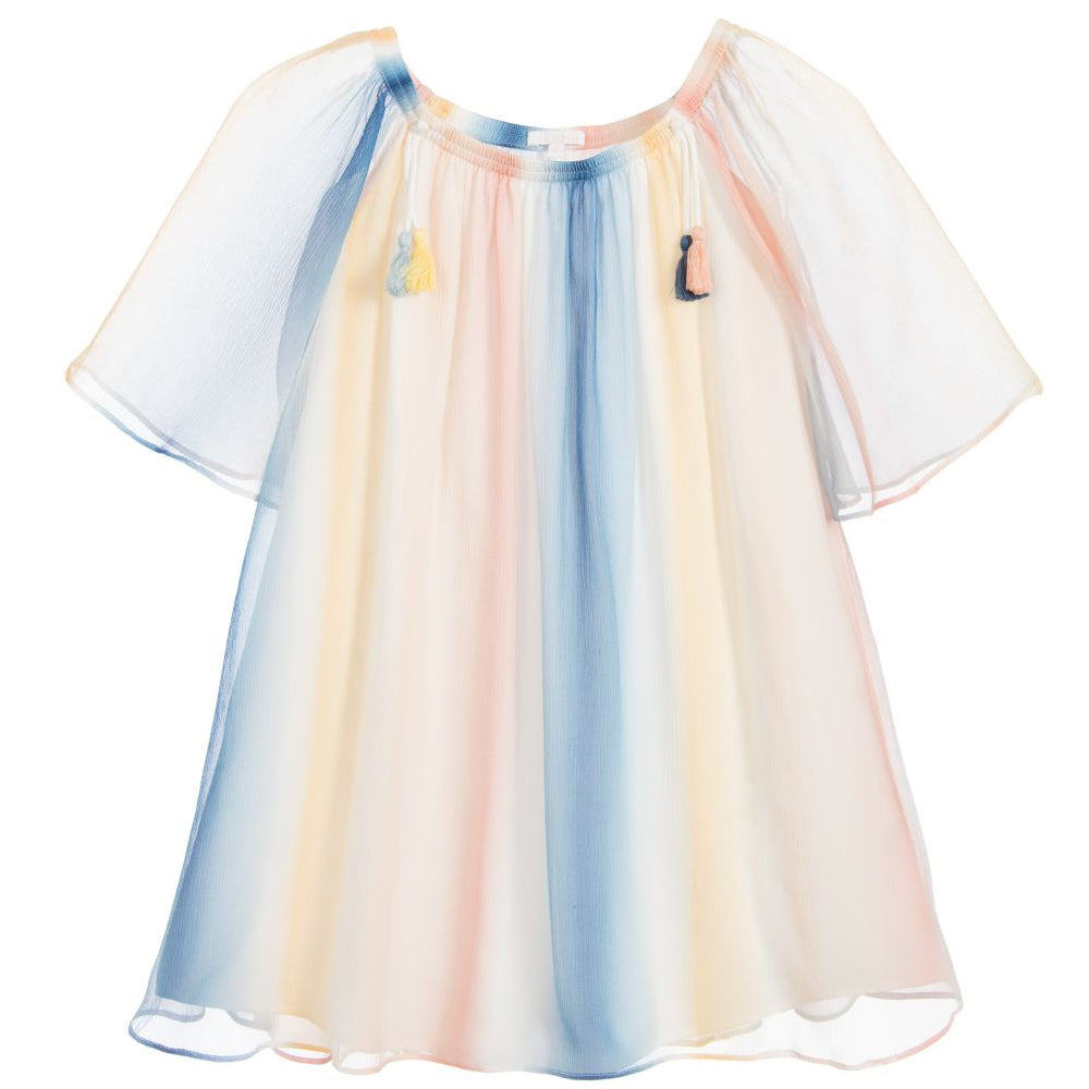 Girls Colorful Fancy Silk Dress (Mini-Me)