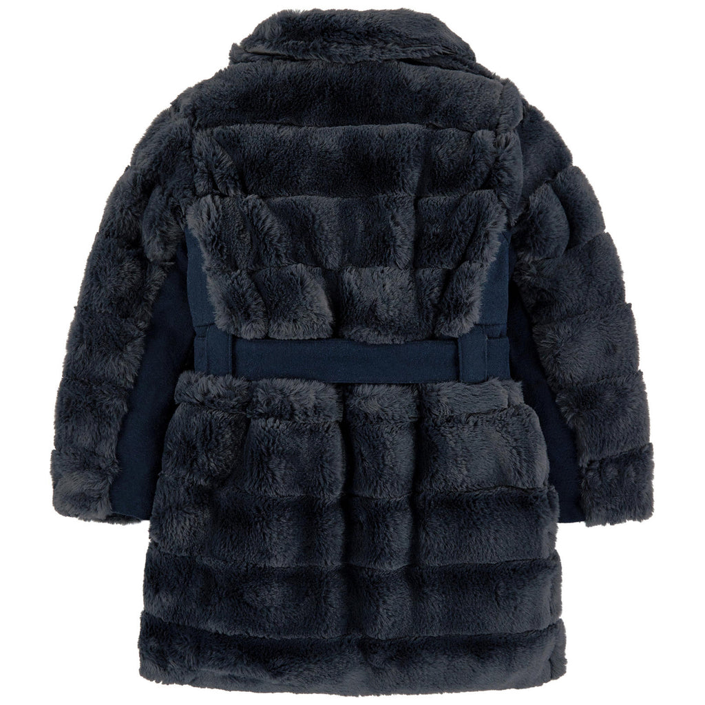 Girls Dark Blue Faux Fur Coat