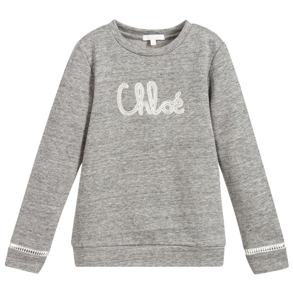 Girls Grey Soft Cotton Logo Sweatshirt