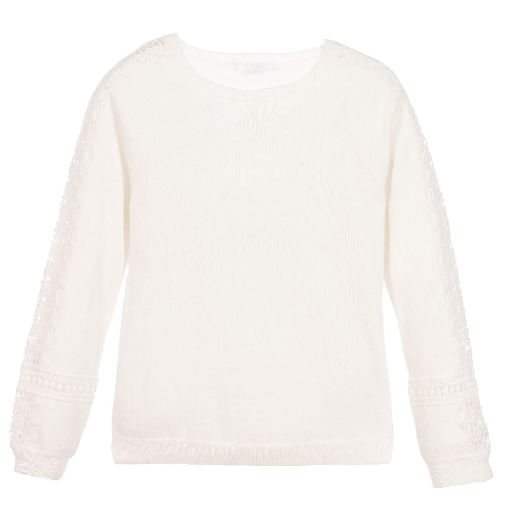 Chloe Girls Ivory Wool Fancy Sweater (Mini-Me) Girls Sweaters & Sweatshirts Chloé [Petit_New_York]
