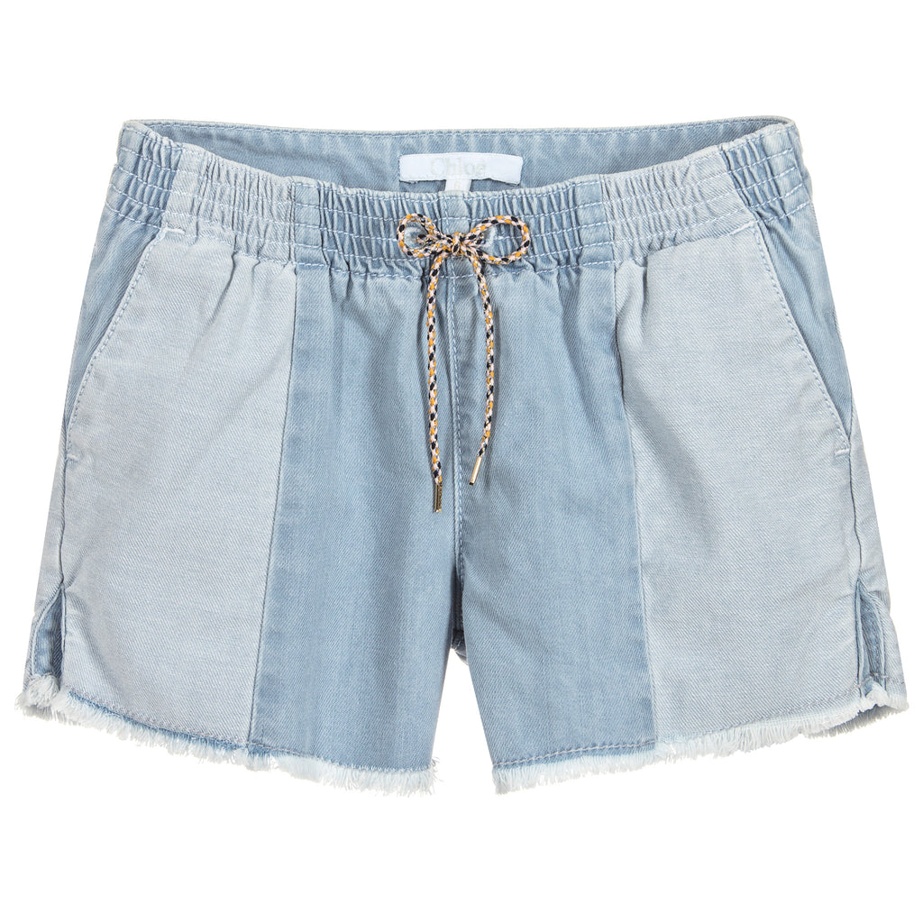 Girls Light Blue Denim Shorts