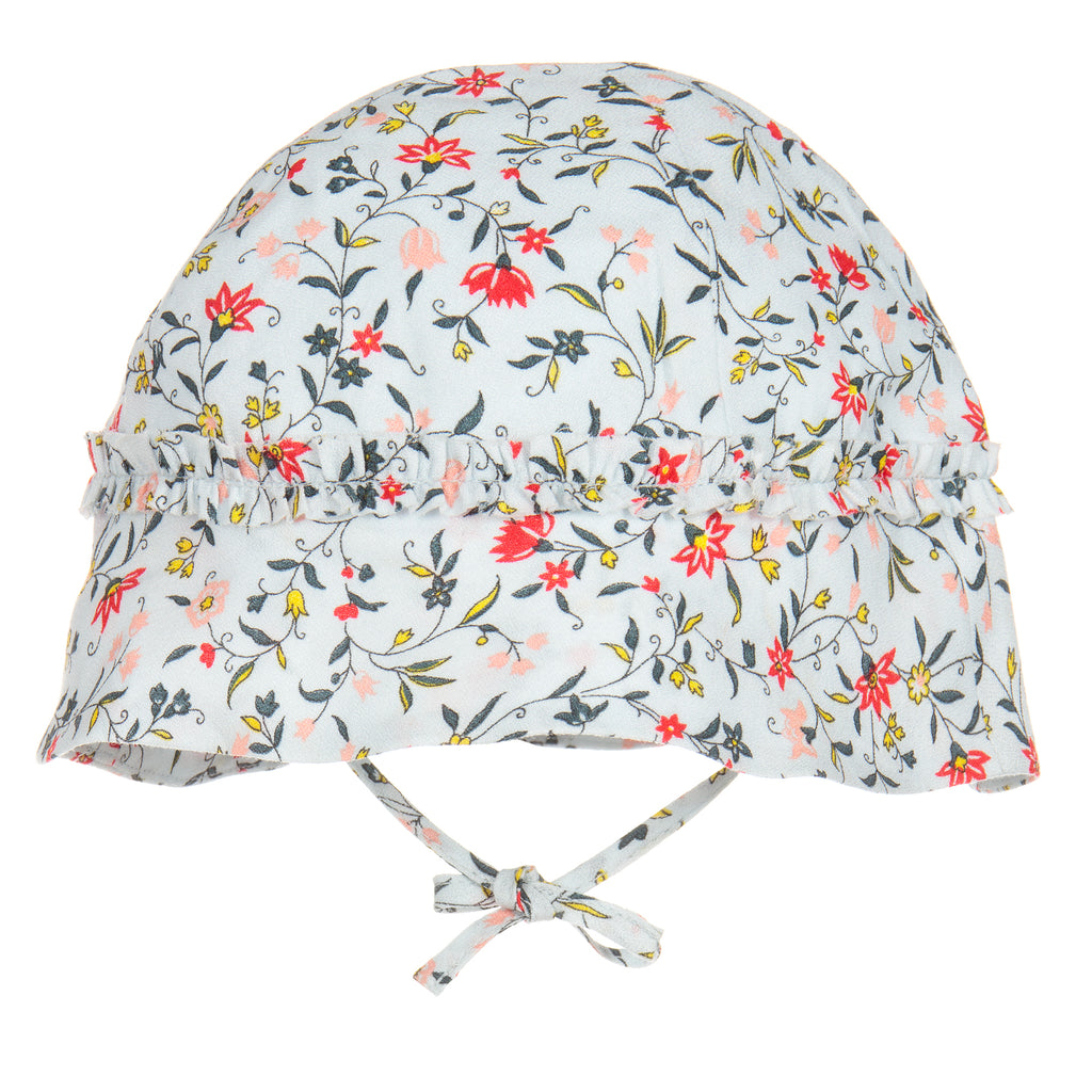 Baby Girls Light Blue Floral Sun Hat