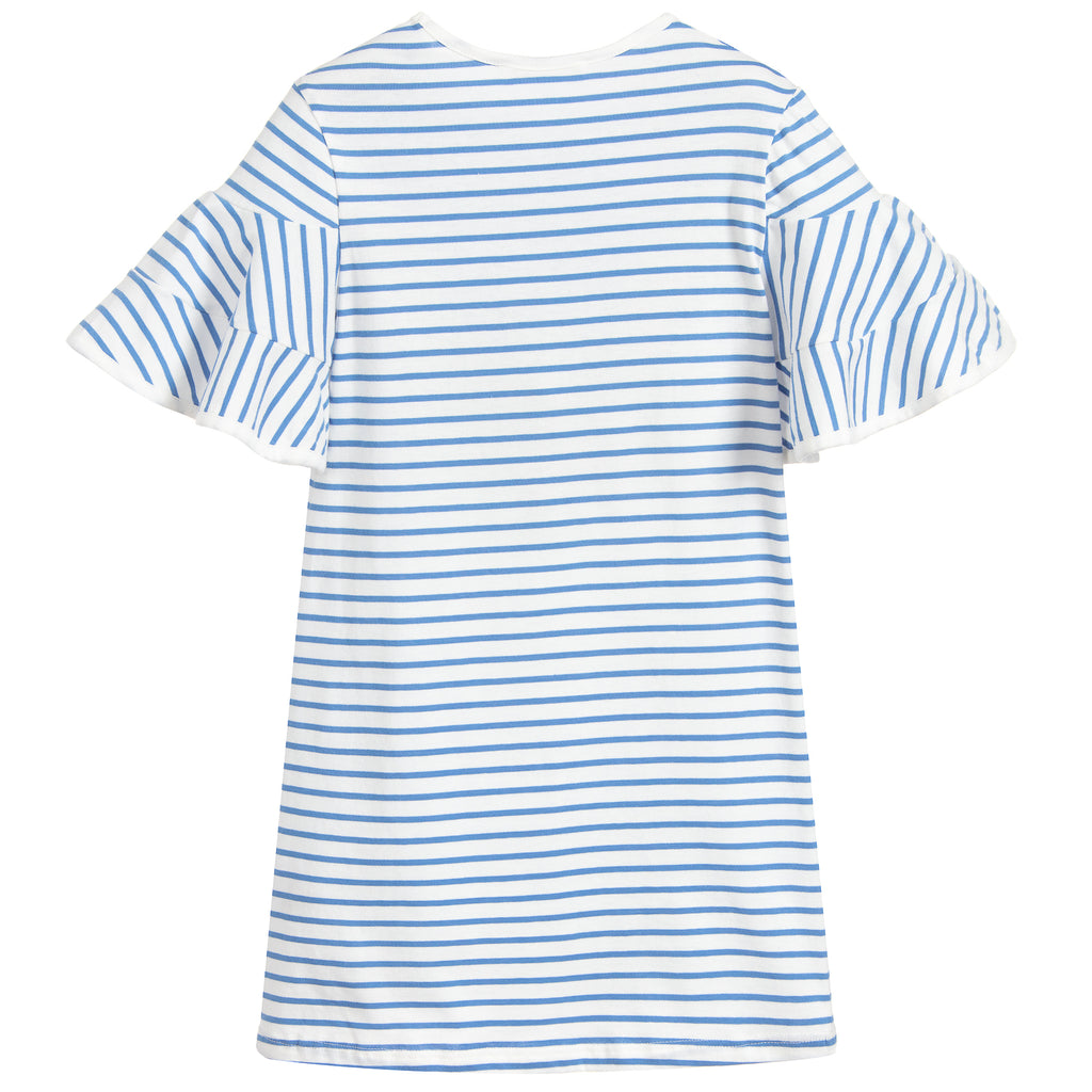 Girls Light Blue Striped Dress