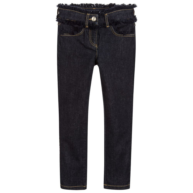 Chloe Girls Navy Denim Frayed Jeans Girls Pants Chloé [Petit_New_York]