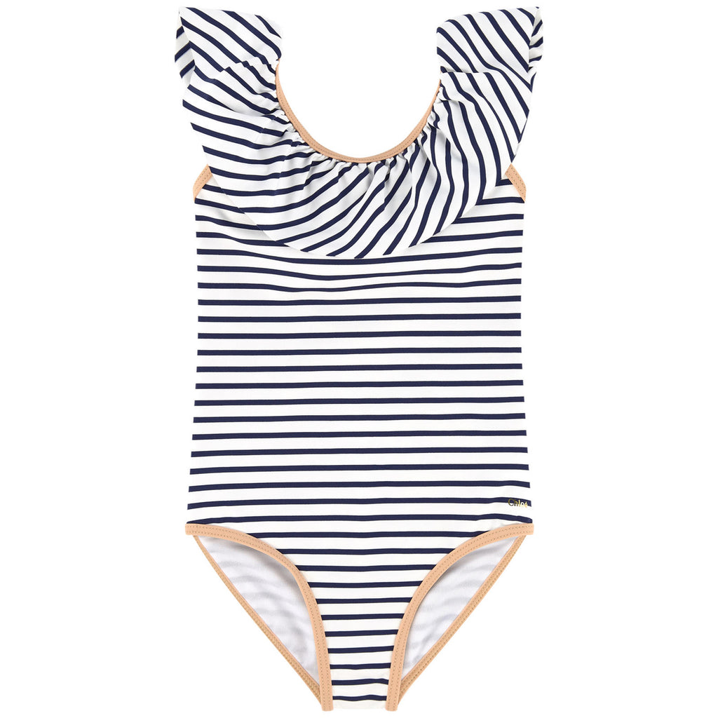 Girls Navy and White Striped Swimsuit