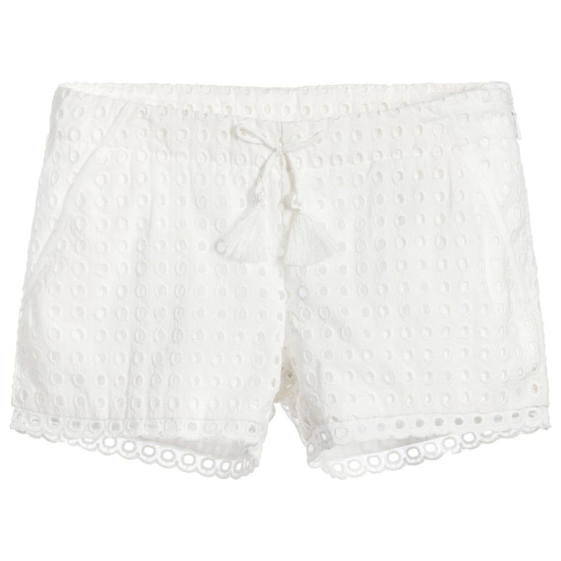 Girls White French Embroideries Shorts (Mini-Me)