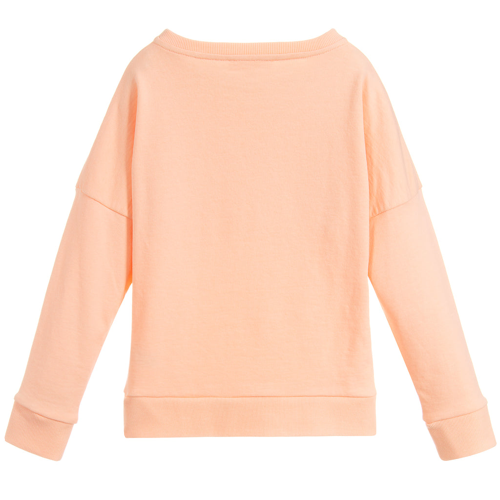 Girls Peach Pink Logo Sweatshirt