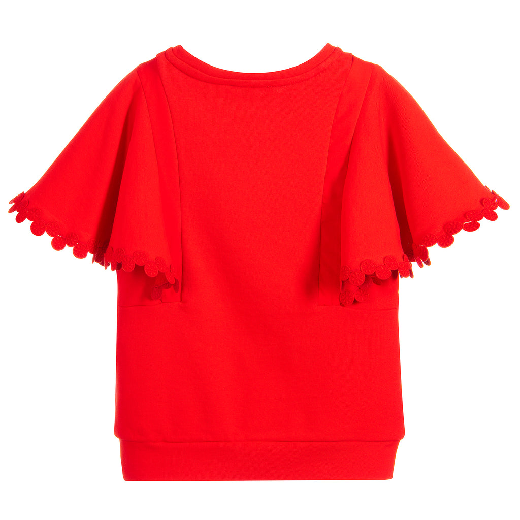 Girls Red Luxury Short Sleeved Sweatshirt