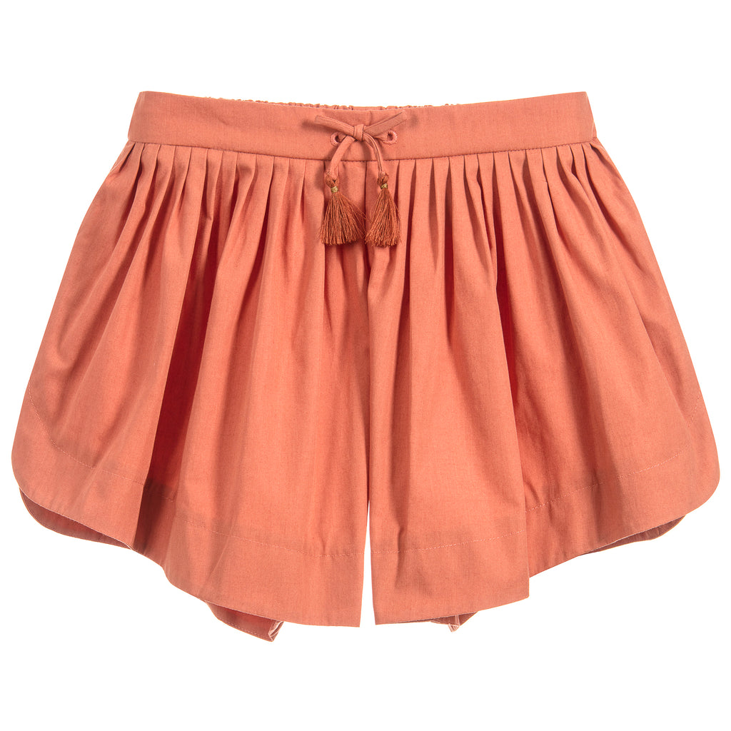 Chloé Girls Terracotta Lightweight Poplin Shorts (Mini-Me)
