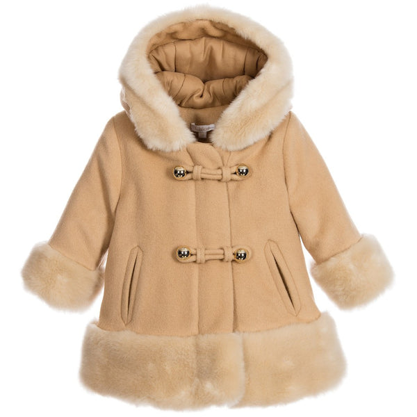 Chloe Baby Girls Fancy Beige Wool Coat Petit New York