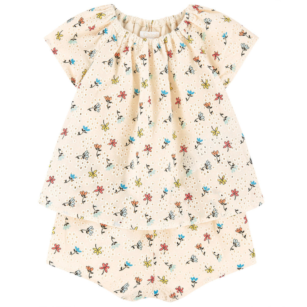 Chloe Baby Girls Floral And Lace Onesie (Mini-Me) Baby Rompers & Onesies Chloé [Petit_New_York]