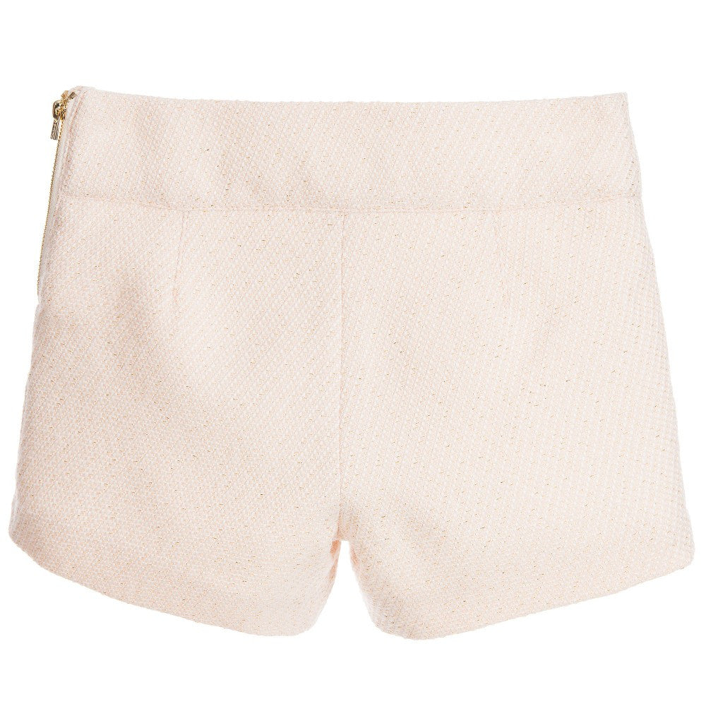 Chloé Girls Blush Pink Tweed Shorts Girls Shorts Chloé [Petit_New_York]